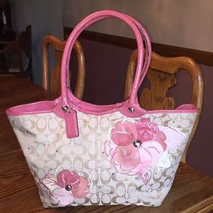 Tan pink coach floral purse shoulder bag